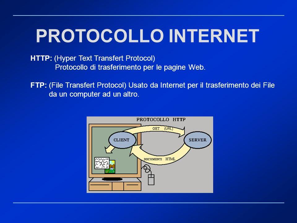 HTTP: (Hyper Text Transfert Protocol) Protocollo di trasferimento per le pagine Web. FTP: (File Transfert Protocol) Usato da Internet per il trasferim