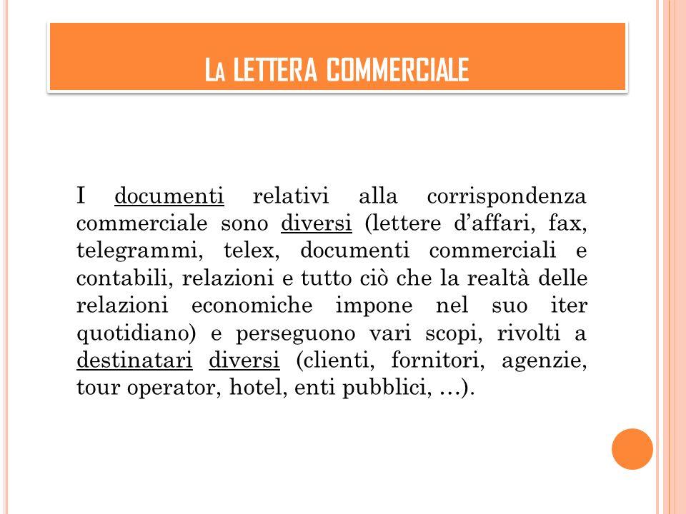 L A LETTERA COMMERCIALE I documenti relativi alla corrispondenza commerciale sono diversi (lettere daffari, fax, telegrammi, telex, documenti commerci