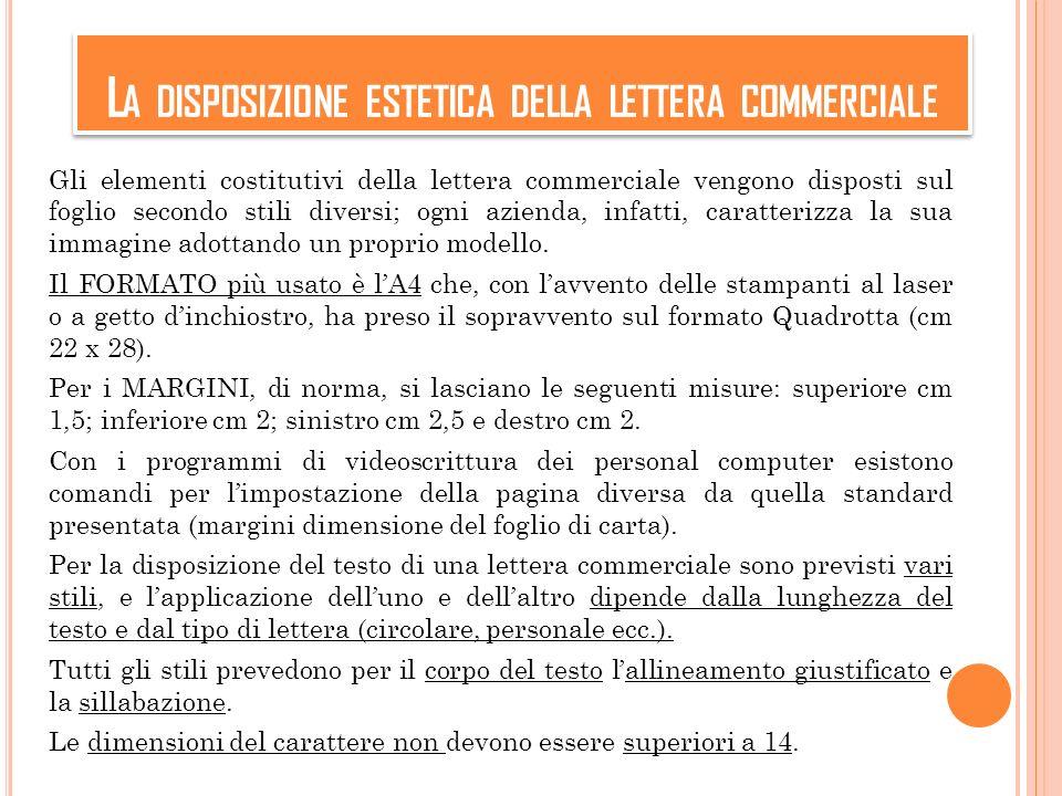 L A DISPOSIZIONE ESTETICA DELLA LETTERA COMMERCIALE Gli elementi costitutivi della lettera commerciale vengono disposti sul foglio secondo stili diver