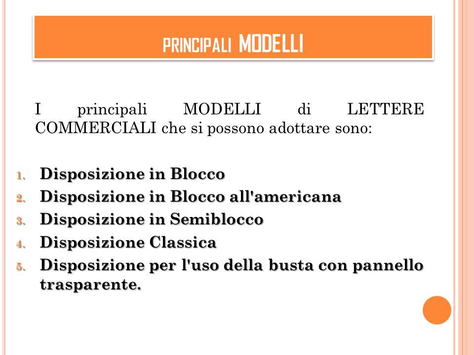 PRINCIPALI MODELLI I principali MODELLI di LETTERE COMMERCIALI che si possono adottare sono: 1.