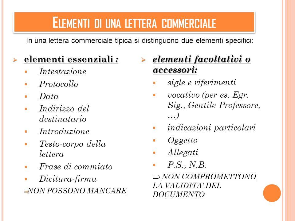 E LEMENTI DI UNA LETTERA COMMERCIALE elementi essenziali : elementi essenziali : Intestazione Protocollo Data Indirizzo del destinatario Introduzione
