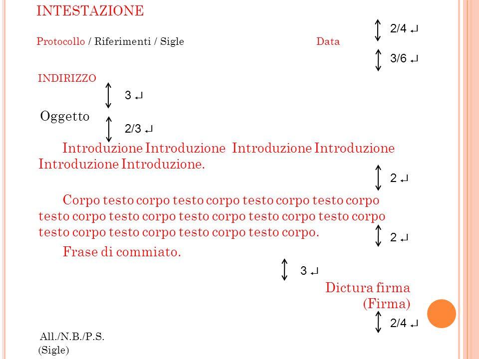 INTESTAZIONE Protocollo / Riferimenti / SigleData INDIRIZZO Oggetto Introduzione Introduzione Introduzione Introduzione Introduzione Introduzione. Cor