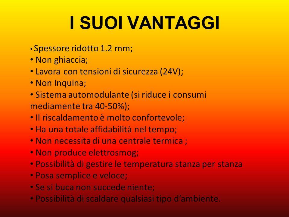I SUOI VANTAGGI Spessore ridotto 1.2 mm; Non ghiaccia; Lavora con tensioni di sicurezza (24V); Non Inquina; Sistema automodulante (si riduce i consumi