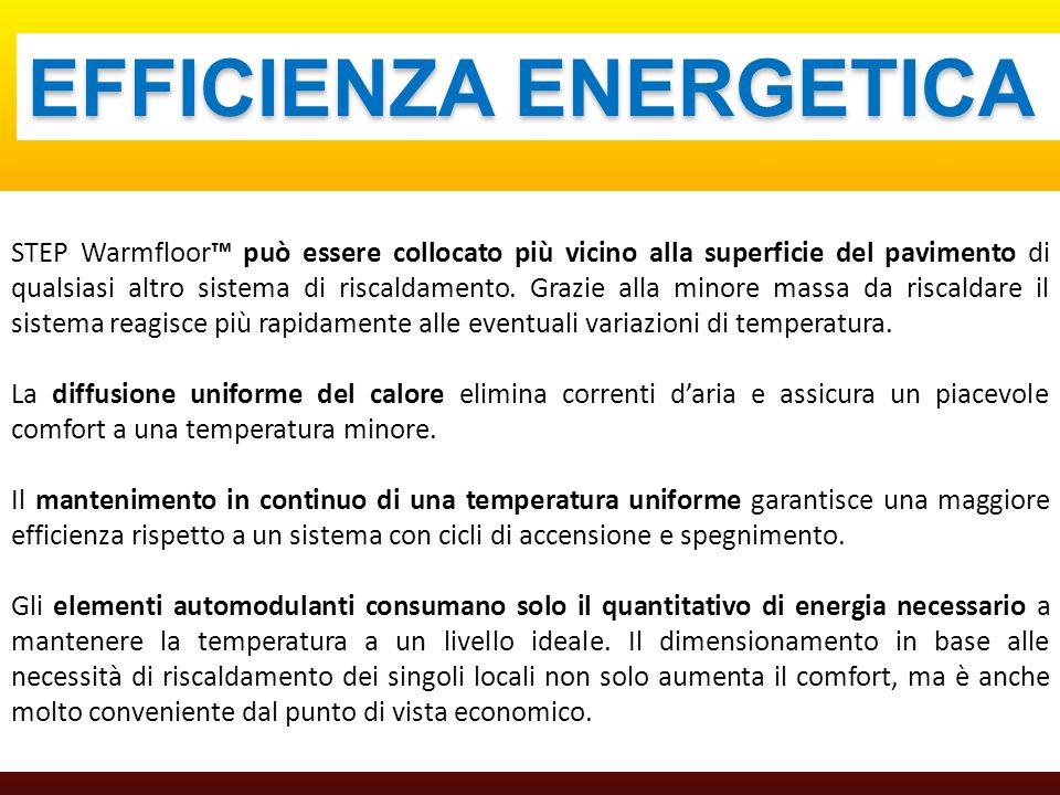 EFFICIENZA ENERGETICA STEP Warmfloor può essere collocato più vicino alla superficie del pavimento di qualsiasi altro sistema di riscaldamento. Grazie