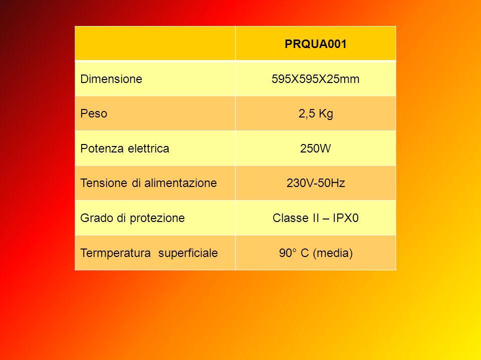 PRQUA001 Dimensione595X595X25mm Peso2,5 Kg Potenza elettrica250W Tensione di alimentazione230V-50Hz Grado di protezioneClasse II – IPX0 Termperatura s