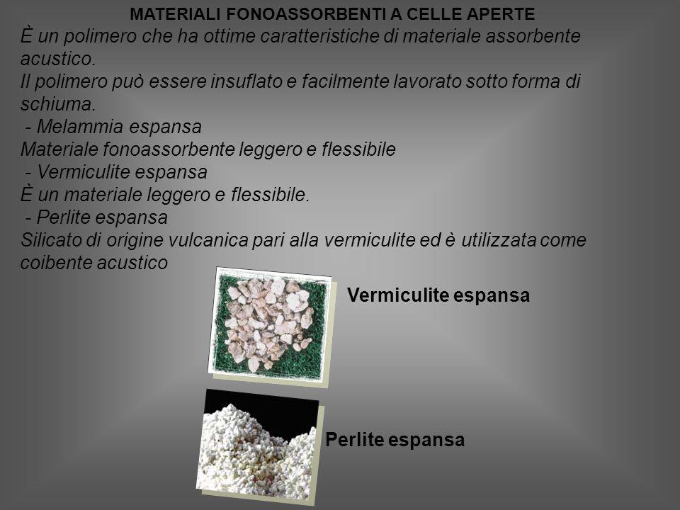 MATERIALI FONOASSORBENTI A CELLE APERTE È un polimero che ha ottime caratteristiche di materiale assorbente acustico.