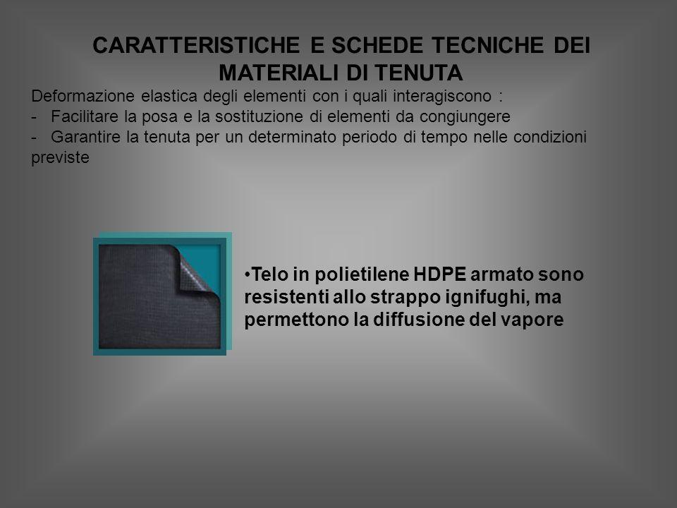 CARATTERISTICHE E SCHEDE TECNICHE DEI MATERIALI DI TENUTA Deformazione elastica degli elementi con i quali interagiscono : - Facilitare la posa e la sostituzione di elementi da congiungere - Garantire la tenuta per un determinato periodo di tempo nelle condizioni previste Telo in polietilene HDPE armato sono resistenti allo strappo ignifughi, ma permettono la diffusione del vapore
