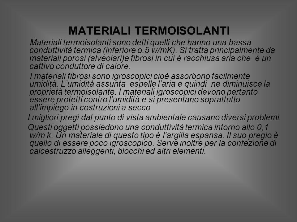 MATERIALI TERMOISOLANTI Materiali termoisolanti sono detti quelli che hanno una bassa conduttività termica (inferiore o,5 w/mK).