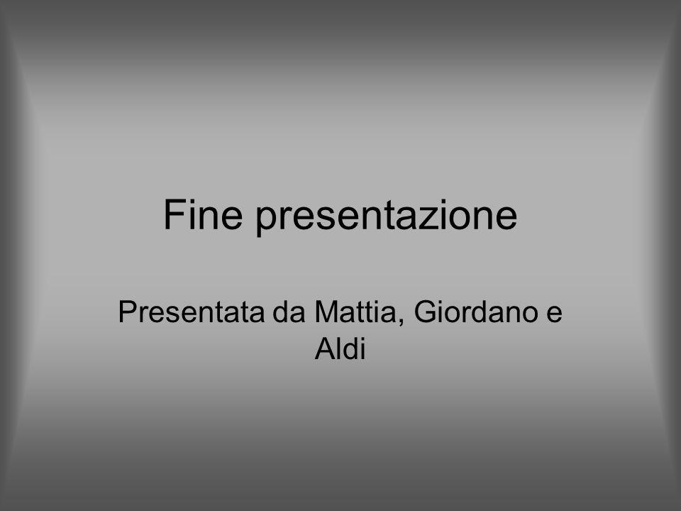 Fine presentazione Presentata da Mattia, Giordano e Aldi