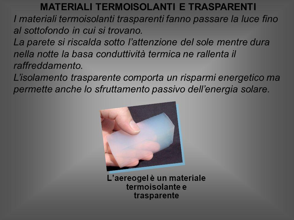 MATERIALI TERMOISOLANTI E TRASPARENTI I materiali termoisolanti trasparenti fanno passare la luce fino al sottofondo in cui si trovano.