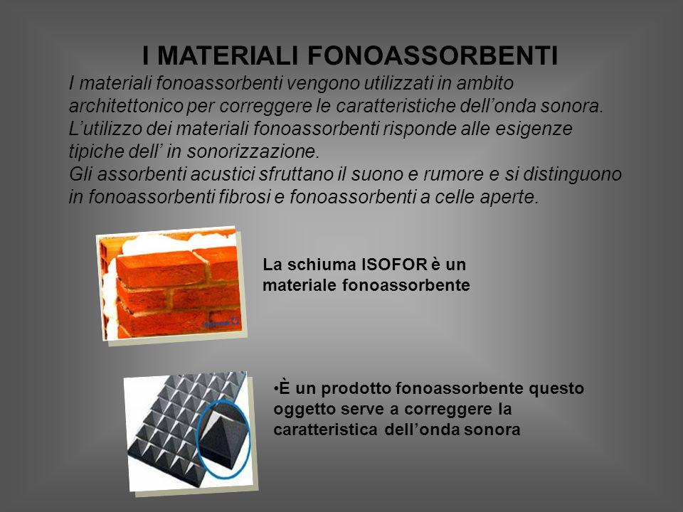 I MATERIALI FONOASSORBENTI I materiali fonoassorbenti vengono utilizzati in ambito architettonico per correggere le caratteristiche dellonda sonora.