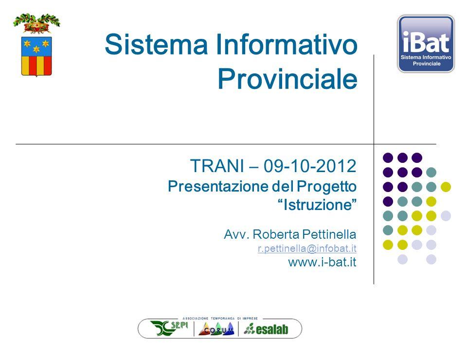 Sistema Informativo Provinciale TRANI – 09-10-2012 Presentazione del Progetto Istruzione Avv. Roberta Pettinella r.pettinella@infobat.it www.i-bat.it
