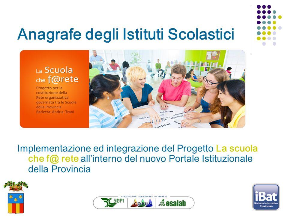 Anagrafe degli Istituti Scolastici Implementazione ed integrazione del Progetto La scuola che f@ rete allinterno del nuovo Portale Istituzionale della