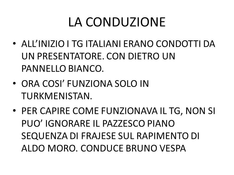 LA CONDUZIONE ALLINIZIO I TG ITALIANI ERANO CONDOTTI DA UN PRESENTATORE. CON DIETRO UN PANNELLO BIANCO. ORA COSI FUNZIONA SOLO IN TURKMENISTAN. PER CA
