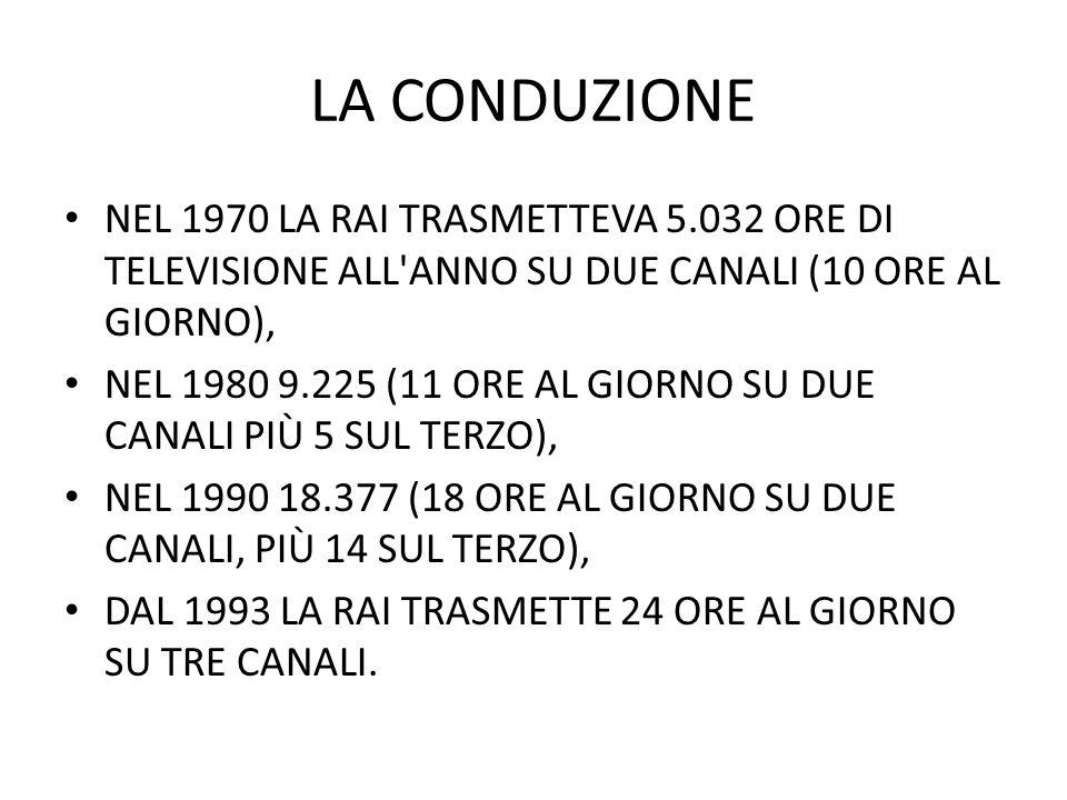 LA CONDUZIONE NEL 1970 LA RAI TRASMETTEVA 5.032 ORE DI TELEVISIONE ALL ANNO SU DUE CANALI (10 ORE AL GIORNO), NEL 1980 9.225 (11 ORE AL GIORNO SU DUE CANALI PIÙ 5 SUL TERZO), NEL 1990 18.377 (18 ORE AL GIORNO SU DUE CANALI, PIÙ 14 SUL TERZO), DAL 1993 LA RAI TRASMETTE 24 ORE AL GIORNO SU TRE CANALI.