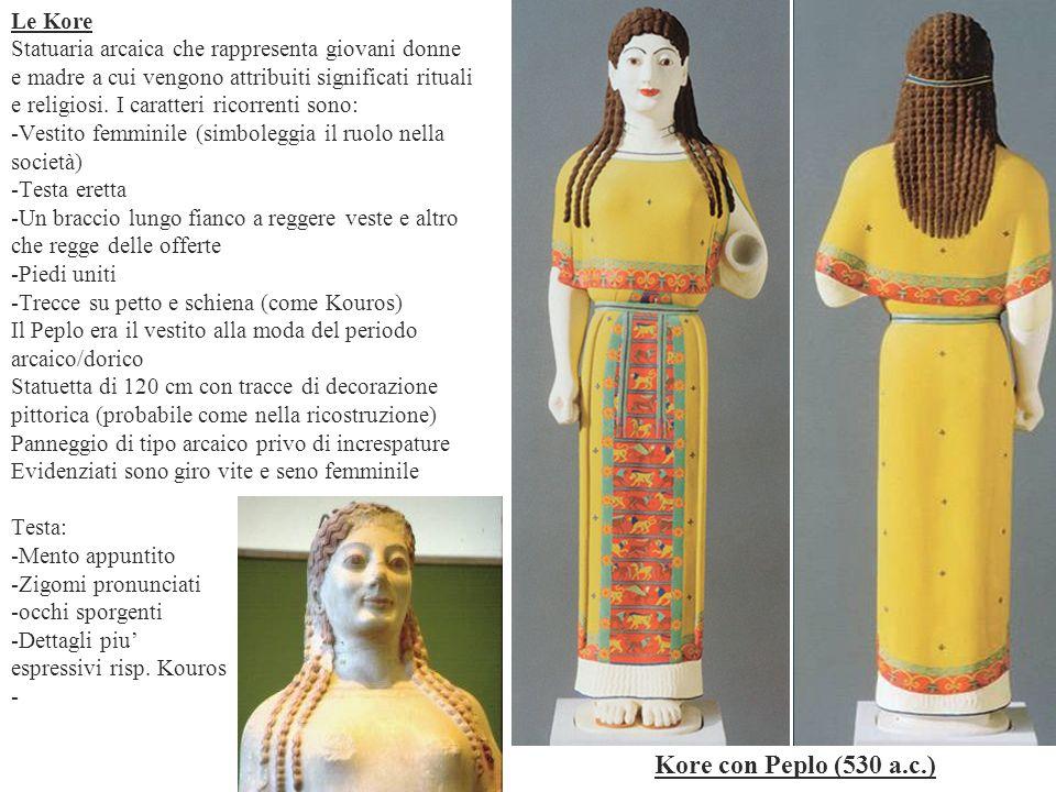 Le Kore Statuaria arcaica che rappresenta giovani donne e madre a cui vengono attribuiti significati rituali e religiosi. I caratteri ricorrenti sono: