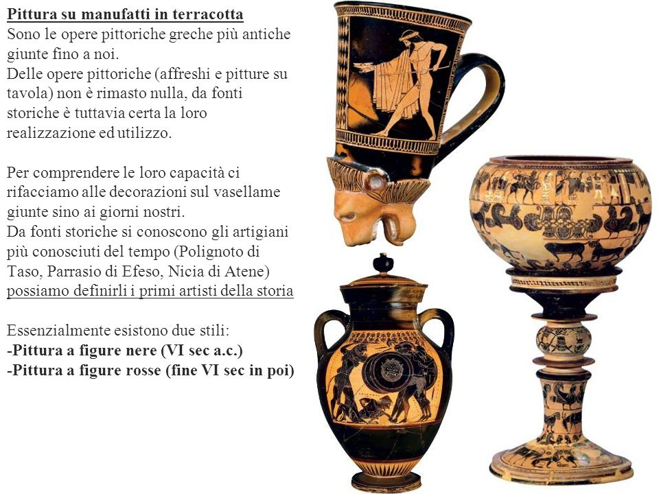 Pittura su manufatti in terracotta Sono le opere pittoriche greche più antiche giunte fino a noi. Delle opere pittoriche (affreshi e pitture su tavola