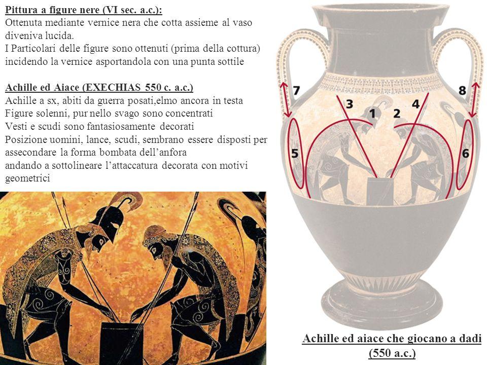 Pittura a figure nere (VI sec. a.c.): Ottenuta mediante vernice nera che cotta assieme al vaso diveniva lucida. I Particolari delle figure sono ottenu