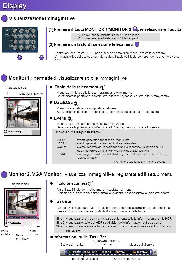 Monitor 2, VGA Monitor: visualizza immagini live, registrate ed il setup menu Titolo telecamera Visualizza il titolo della telecamera impostato nel me
