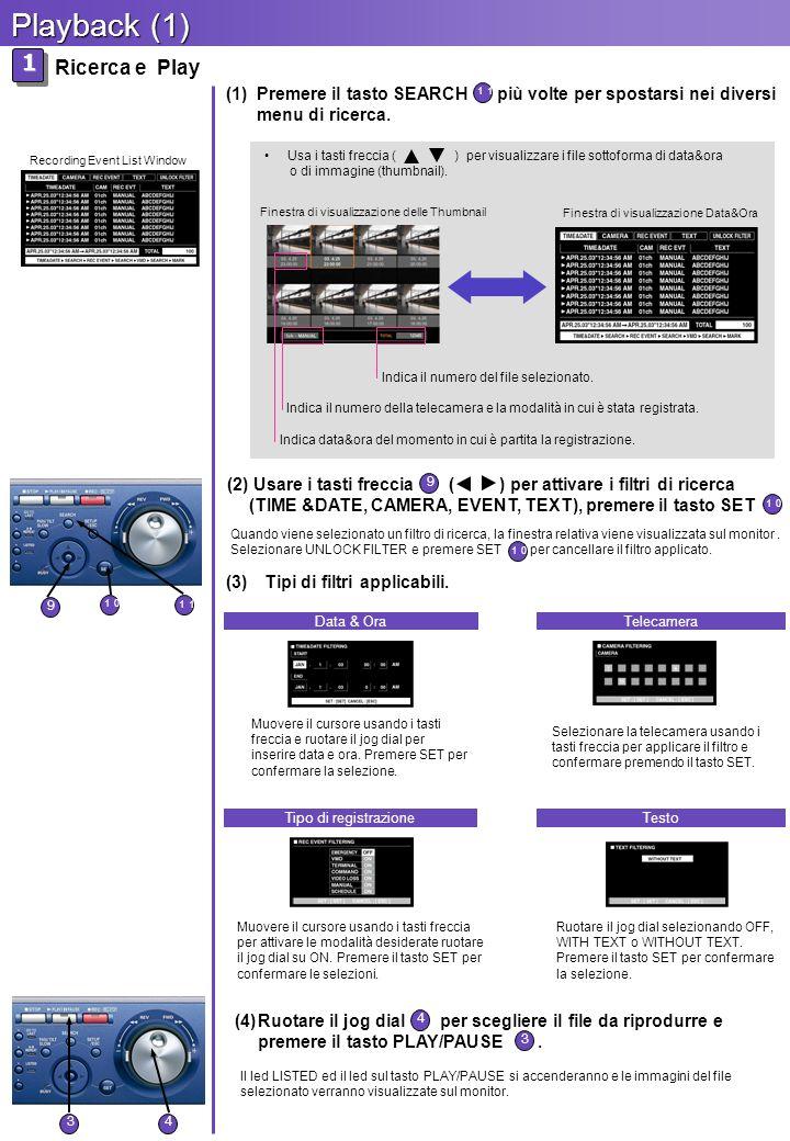 (4)Ruotare il jog dial per scegliere il file da riprodurre e premere il tasto PLAY/PAUSE.