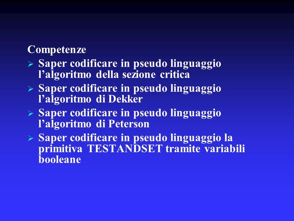 Competenze Saper codificare in pseudo linguaggio lalgoritmo della sezione critica Saper codificare in pseudo linguaggio lalgoritmo di Dekker Saper cod