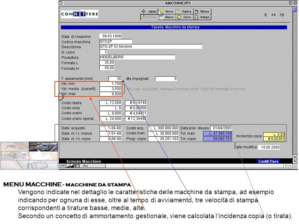 MENU MACCHINE - macchine da stampa Vengono indicate nel dettaglio le caratteristiche delle macchine da stampa, ad esempio indicando per ognuna di esse, oltre al tempo di avviamento, tre velocità di stampa corrispondenti a tirature basse, medie, alte.