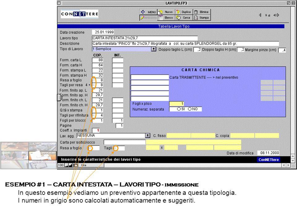 ESEMPIO #1 – CARTA INTESTATA – LAVORI TIPO - immissione In questo esempio vediamo un preventivo appartenente a questa tipologia. I numeri in grigio so