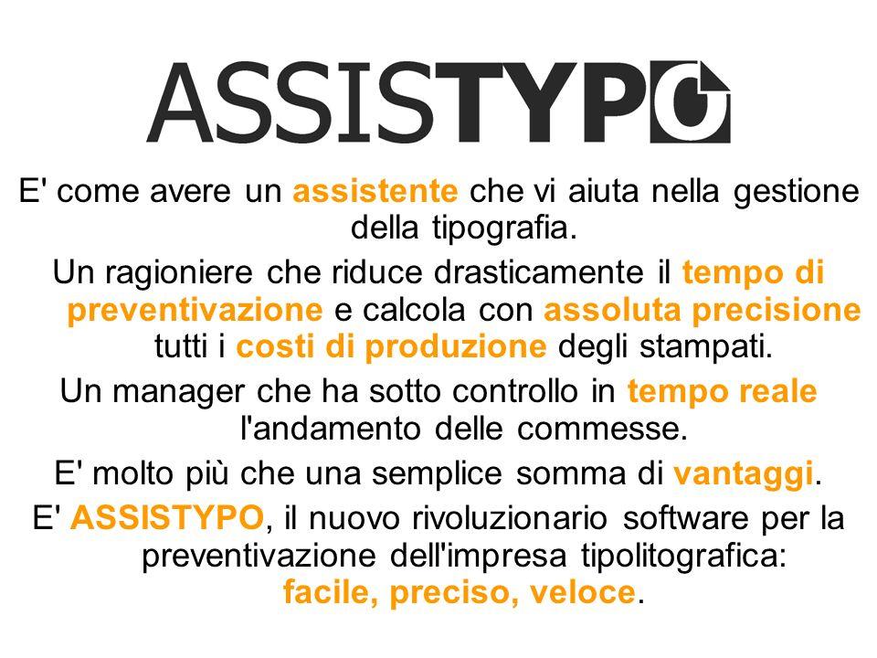AssisTypo, creato per la massima semplicità duso, si basa su innovativi e sofisticati algoritmi di calcolo al servizio di una rapida gestione dellattività tipolitografica.