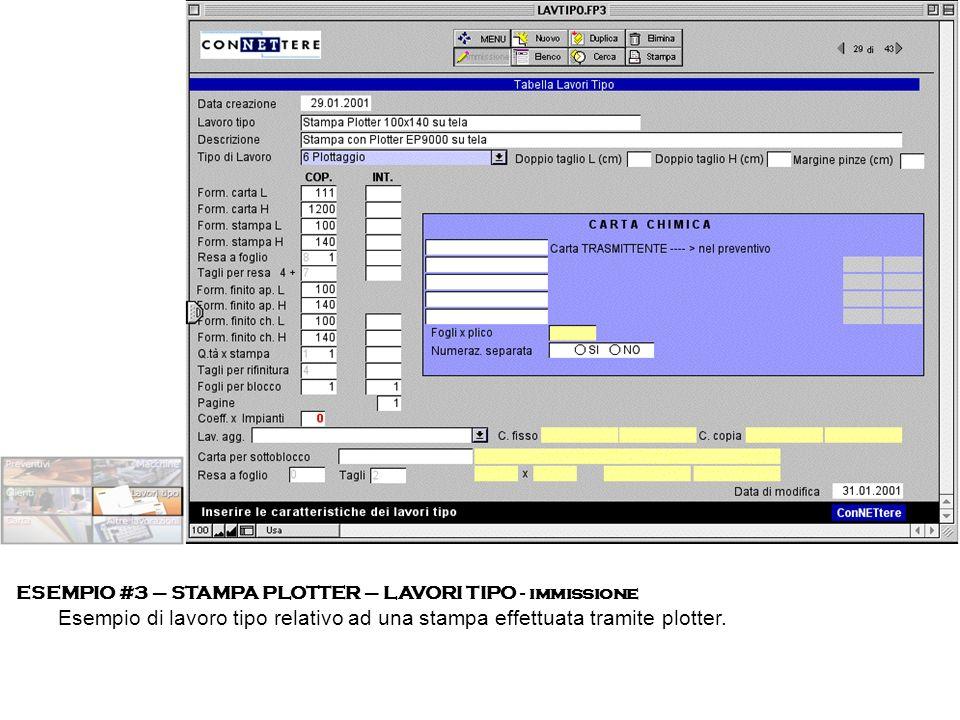 ESEMPIO #3 – STAMPA PLOTTER – LAVORI TIPO - immissione Esempio di lavoro tipo relativo ad una stampa effettuata tramite plotter.
