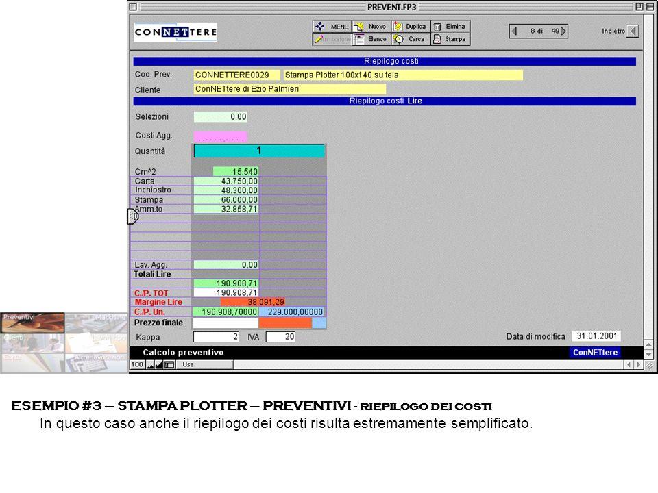 ESEMPIO #3 – STAMPA PLOTTER – PREVENTIVI - riepilogo dei costi In questo caso anche il riepilogo dei costi risulta estremamente semplificato.