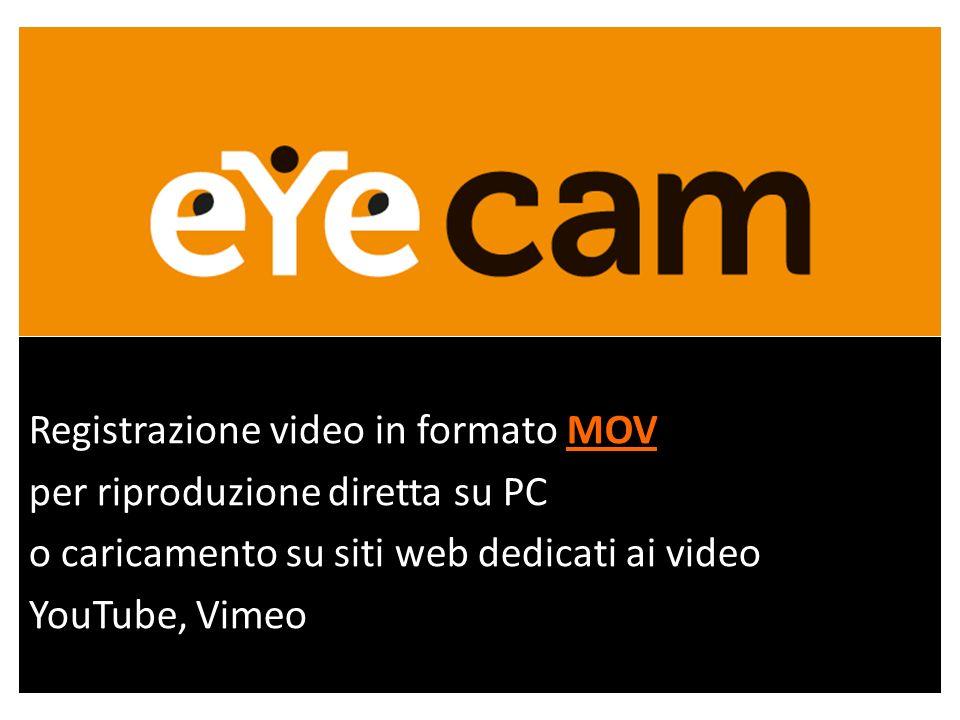 MOV Registrazione video in formato MOV per riproduzione diretta su PC o caricamento su siti web dedicati ai video YouTube, Vimeo