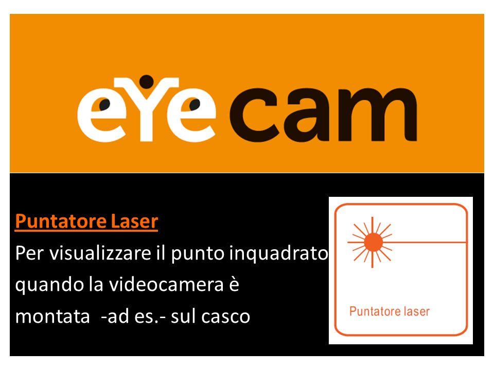 Puntatore Laser Per visualizzare il punto inquadrato quando la videocamera è montata -ad es.- sul casco