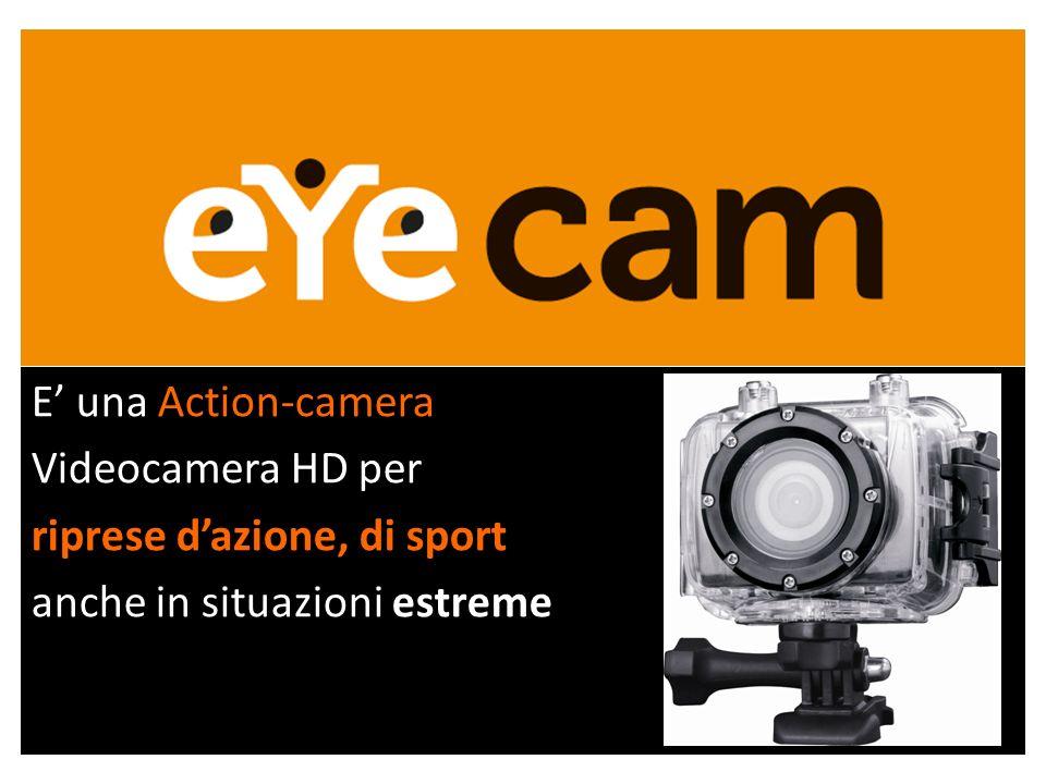 E una Action-camera Videocamera HD per riprese dazione, di sport anche in situazioni estreme
