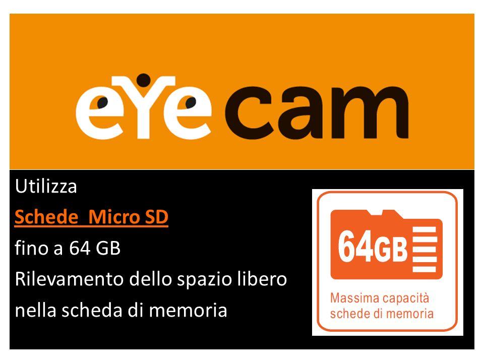 Utilizza Schede Micro SD fino a 64 GB Rilevamento dello spazio libero nella scheda di memoria