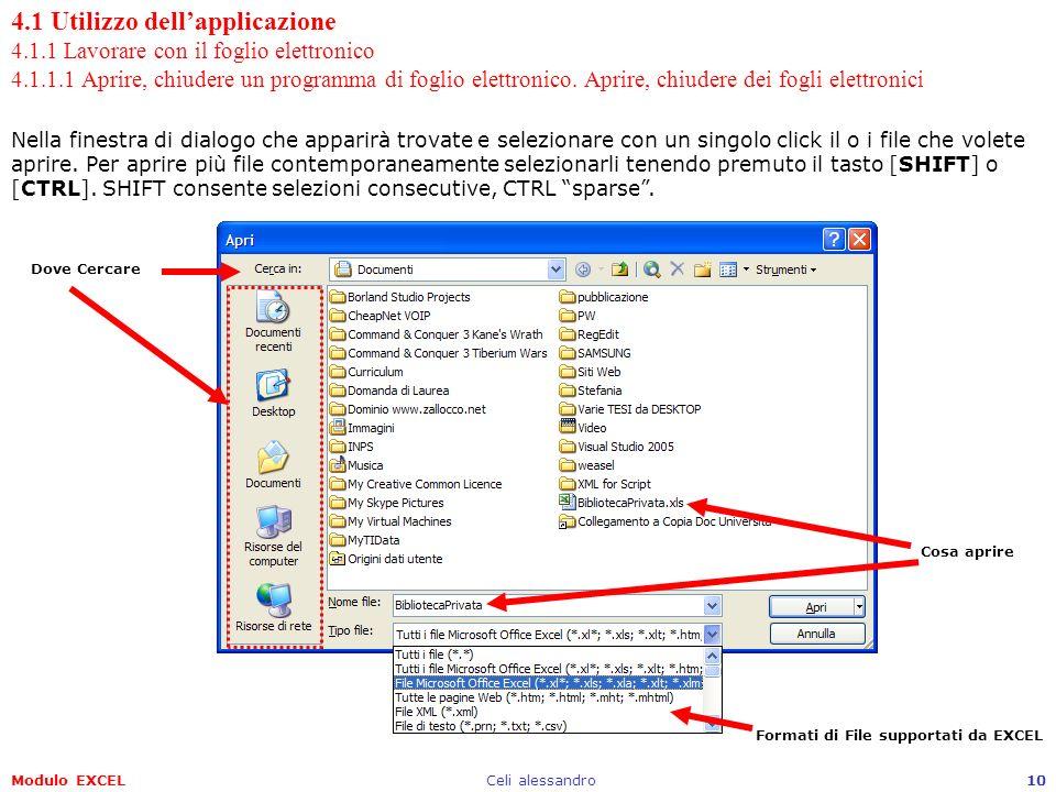 Modulo EXCELCeli alessandro10 4.1 Utilizzo dellapplicazione 4.1.1 Lavorare con il foglio elettronico 4.1.1.1 Aprire, chiudere un programma di foglio e