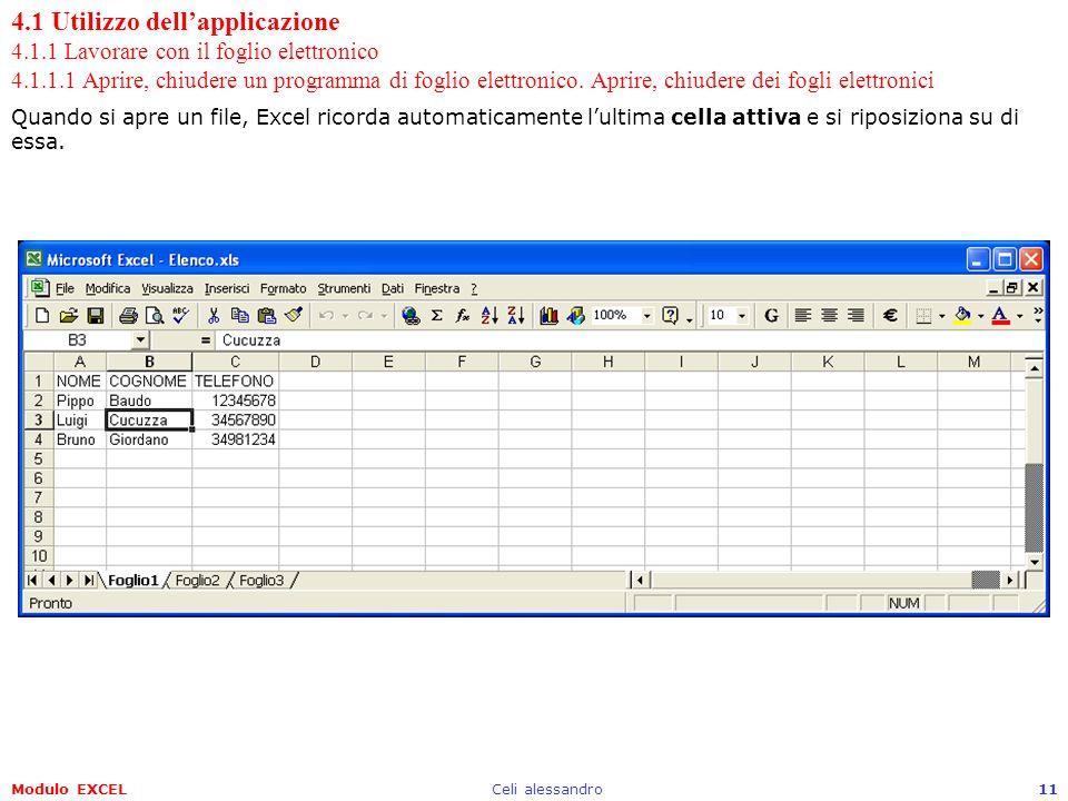 Modulo EXCELCeli alessandro11 4.1 Utilizzo dellapplicazione 4.1.1 Lavorare con il foglio elettronico 4.1.1.1 Aprire, chiudere un programma di foglio e