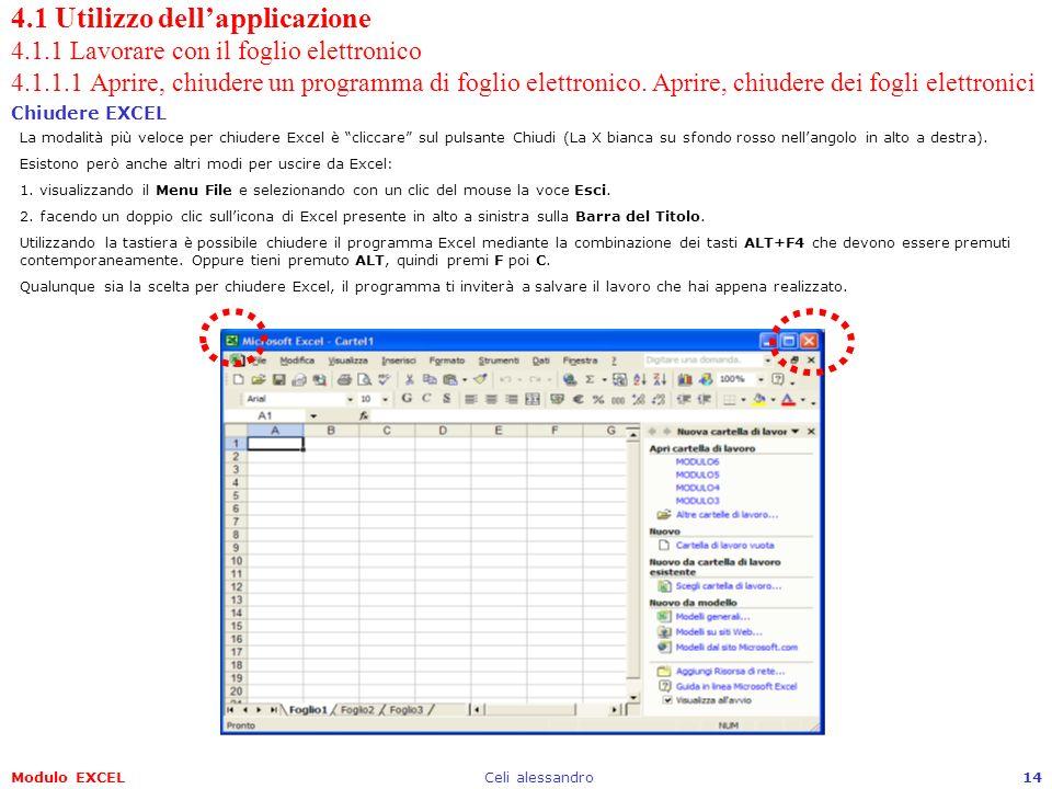 Modulo EXCELCeli alessandro14 4.1 Utilizzo dellapplicazione 4.1.1 Lavorare con il foglio elettronico 4.1.1.1 Aprire, chiudere un programma di foglio e