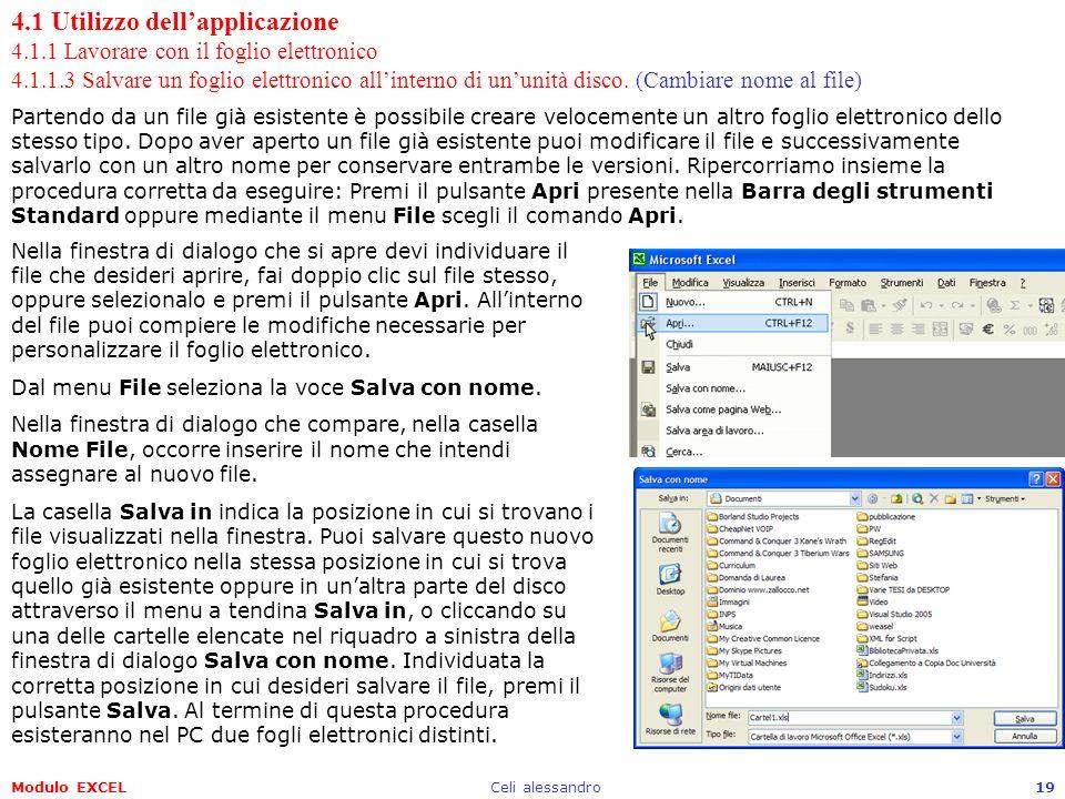 Modulo EXCELCeli alessandro19 4.1 Utilizzo dellapplicazione 4.1.1 Lavorare con il foglio elettronico 4.1.1.3 Salvare un foglio elettronico allinterno
