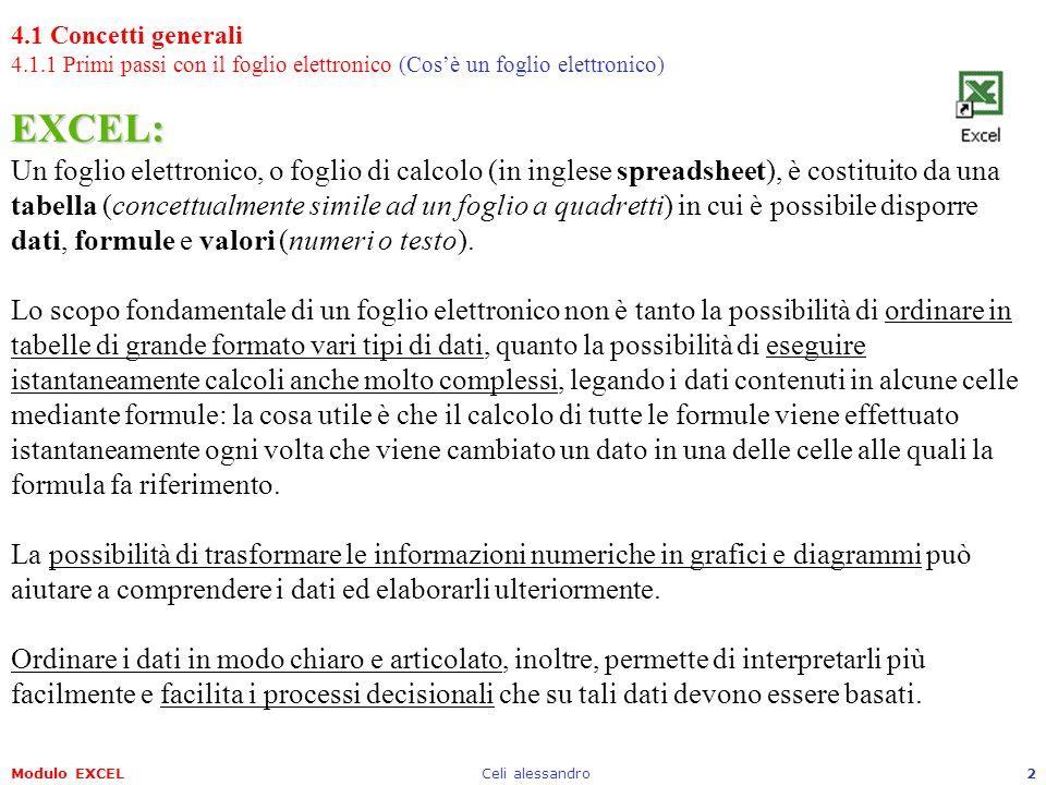 Modulo EXCELCeli alessandro2 EXCEL: EXCEL: Un foglio elettronico, o foglio di calcolo (in inglese spreadsheet), è costituito da una tabella (concettua