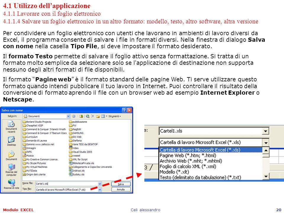 Modulo EXCELCeli alessandro20 4.1 Utilizzo dellapplicazione 4.1.1 Lavorare con il foglio elettronico 4.1.1.4 Salvare un foglio elettronico in un altro