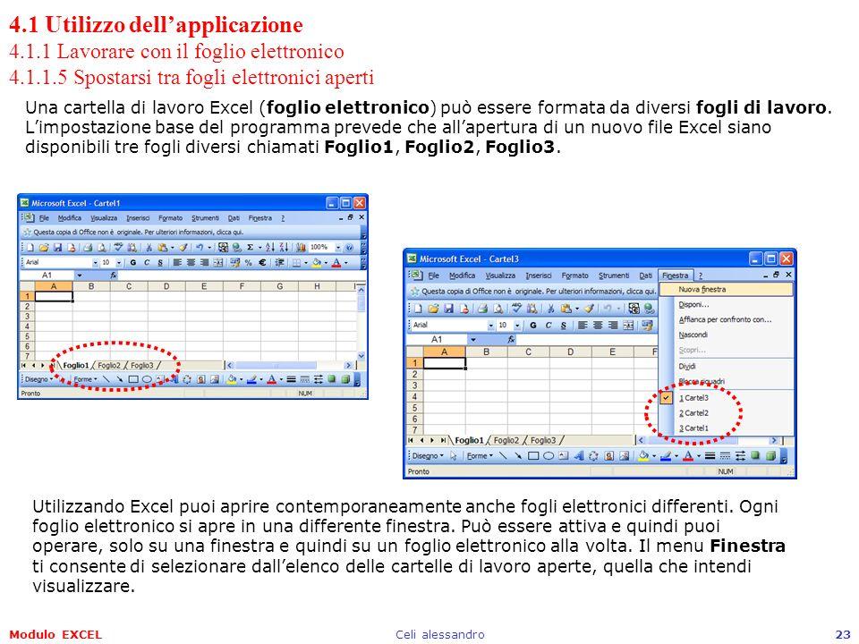 Modulo EXCELCeli alessandro23 4.1 Utilizzo dellapplicazione 4.1.1 Lavorare con il foglio elettronico 4.1.1.5 Spostarsi tra fogli elettronici aperti Un