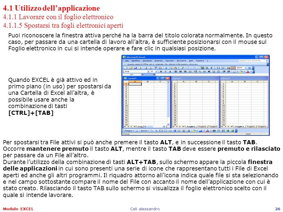 Modulo EXCELCeli alessandro26 4.1 Utilizzo dellapplicazione 4.1.1 Lavorare con il foglio elettronico 4.1.1.5 Spostarsi tra fogli elettronici aperti Pu