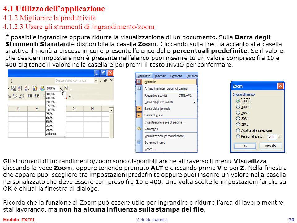 Modulo EXCELCeli alessandro30 4.1 Utilizzo dellapplicazione 4.1.2 Migliorare la produttività 4.1.2.3 Usare gli strumenti di ingrandimento/zoom È possi
