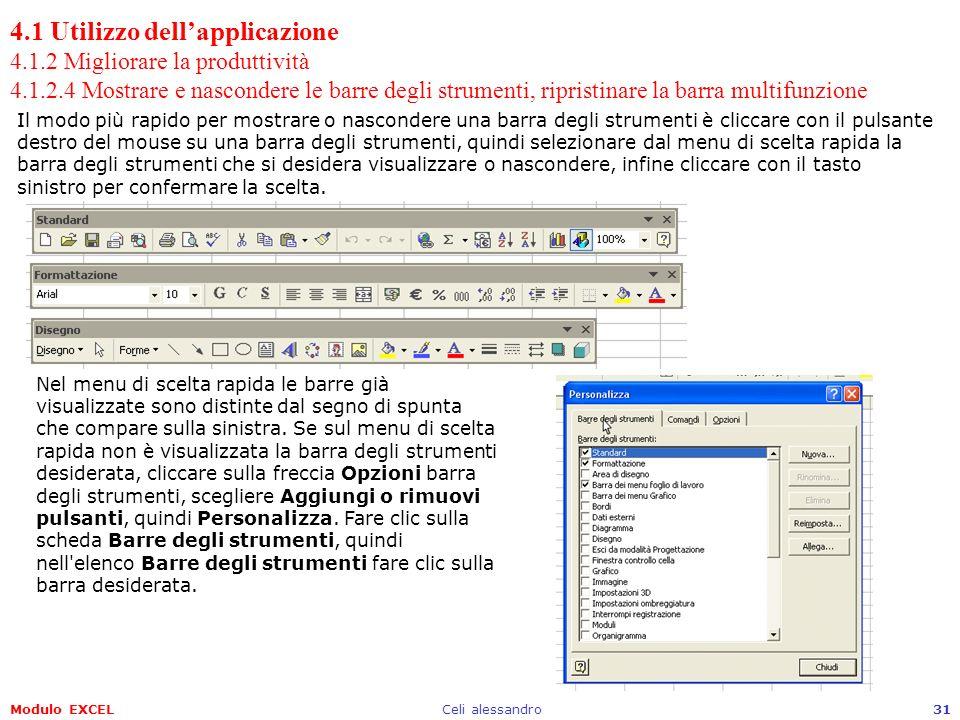 Modulo EXCELCeli alessandro31 4.1 Utilizzo dellapplicazione 4.1.2 Migliorare la produttività 4.1.2.4 Mostrare e nascondere le barre degli strumenti, r