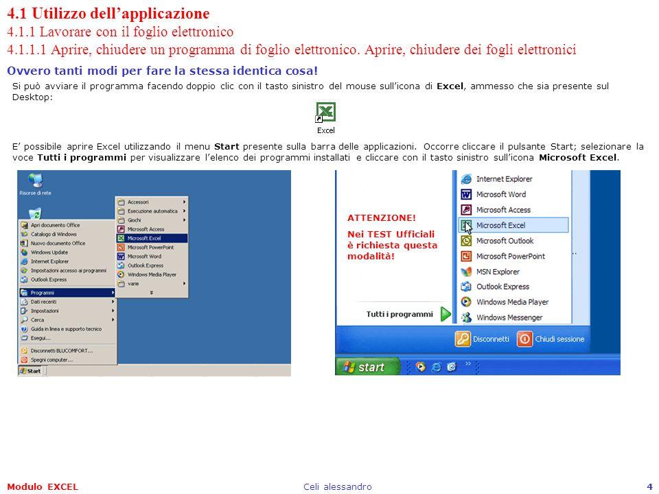 Modulo EXCELCeli alessandro4 4.1 Utilizzo dellapplicazione 4.1.1 Lavorare con il foglio elettronico 4.1.1.1 Aprire, chiudere un programma di foglio el