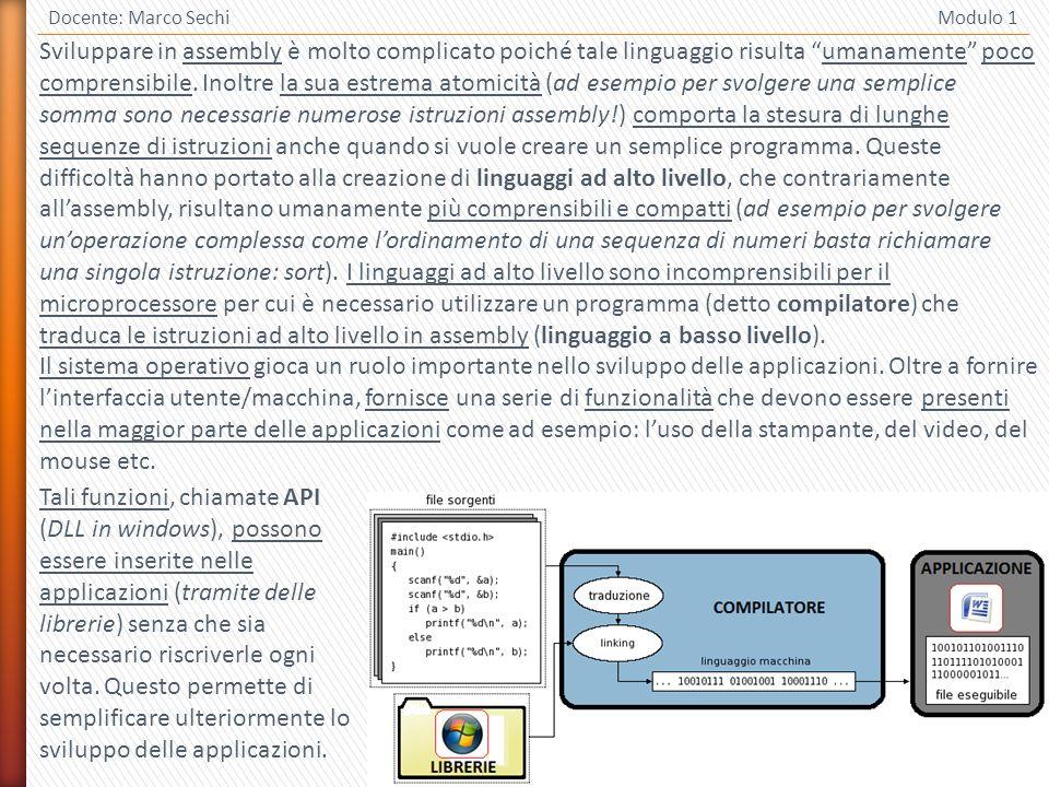 3 Docente: Marco Sechi Modulo 1 Sviluppare in assembly è molto complicato poiché tale linguaggio risulta umanamente poco comprensibile.