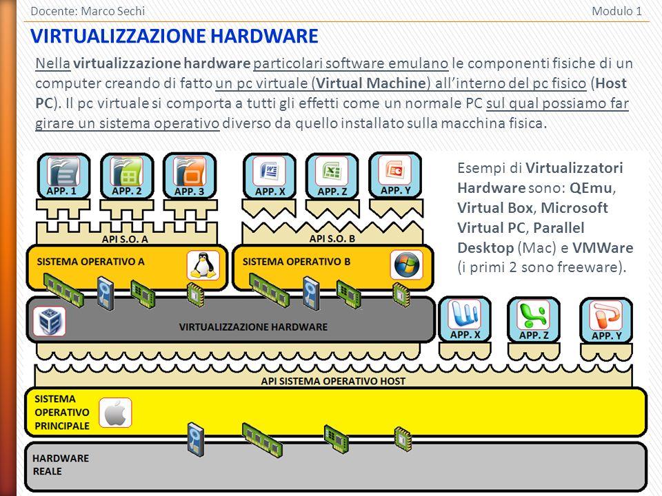 6 Docente: Marco Sechi Modulo 1 Nella virtualizzazione hardware particolari software emulano le componenti fisiche di un computer creando di fatto un pc virtuale (Virtual Machine) allinterno del pc fisico (Host PC).