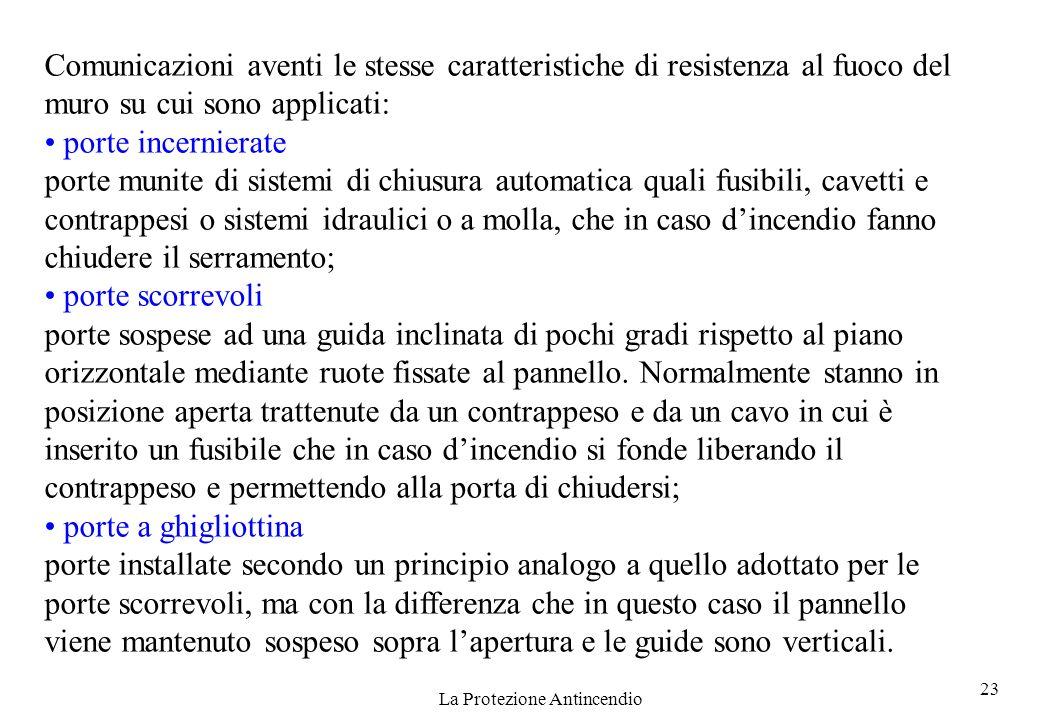 23 La Protezione Antincendio Comunicazioni aventi le stesse caratteristiche di resistenza al fuoco del muro su cui sono applicati: porte incernierate
