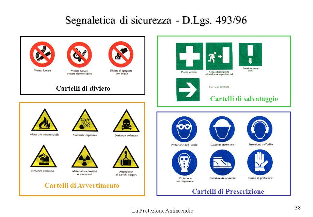 58 La Protezione Antincendio Cartelli di divieto Cartelli di salvataggio Cartelli di Avvertimento Cartelli di Prescrizione Segnaletica di sicurezza -