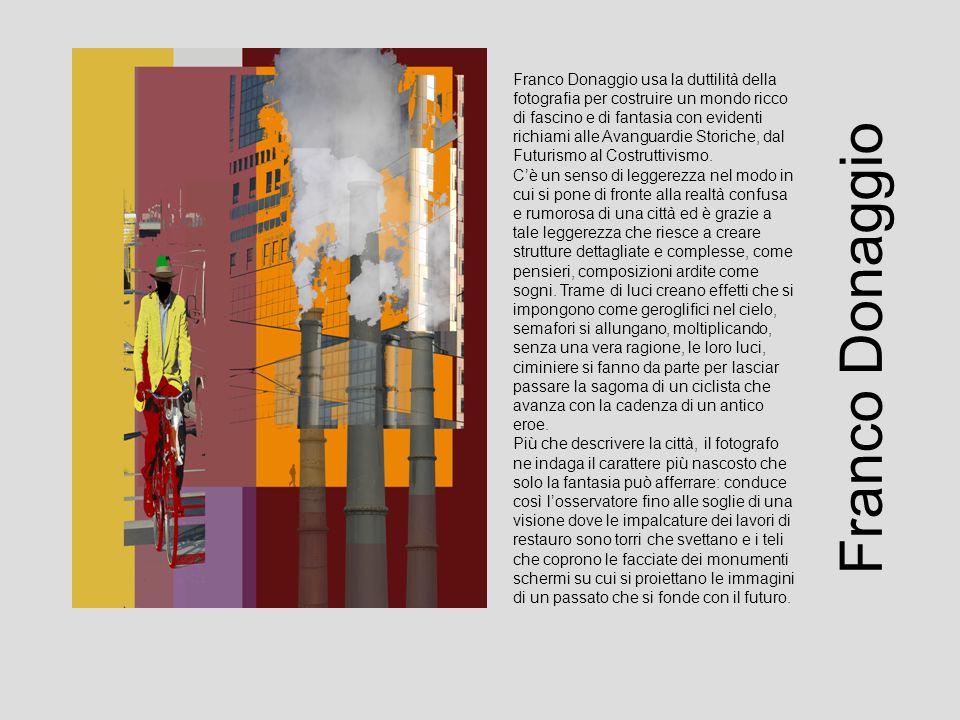 Franco Donaggio usa la duttilità della fotografia per costruire un mondo ricco di fascino e di fantasia con evidenti richiami alle Avanguardie Storiche, dal Futurismo al Costruttivismo.